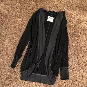 Black fade hooded cardigan